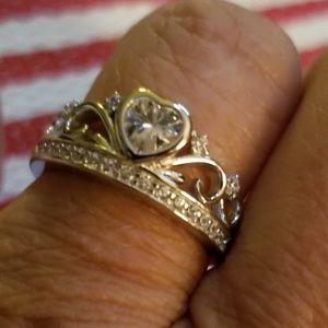 Jewelry - Sterling Silver Heart Crown Clear CZ